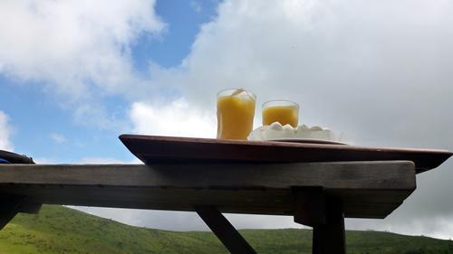 車山肩に戻り、コロボックルヒュッテでオレンジジュースとレアチーズケーキ。